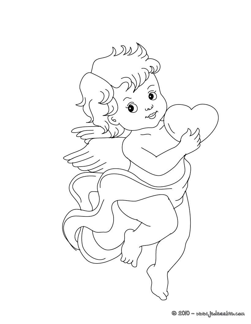 ... gratuit de Cupidon et son coeur - Coloriage ANGE SAINT VALENTIN