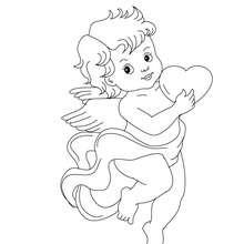 Coloriage gratuit de Cupidon et son coeur - Coloriage - Coloriage FETES - Coloriage SAINT VALENTIN - Coloriage ANGE SAINT VALENTIN