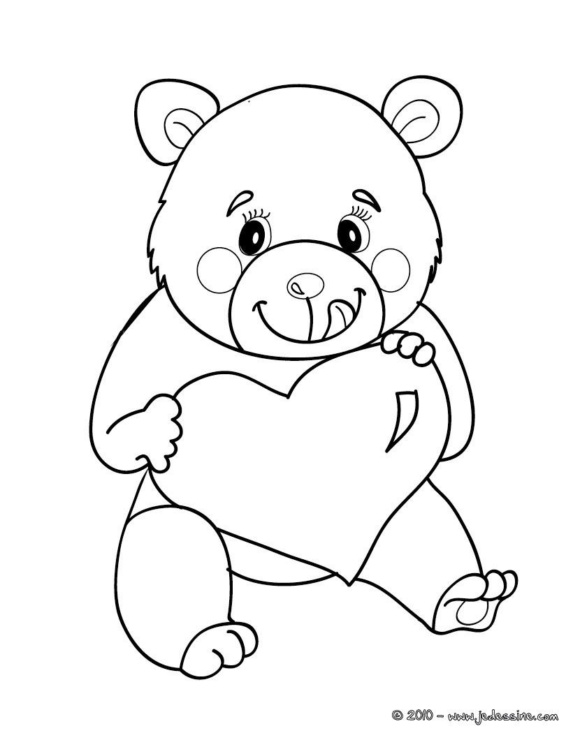Coloriage ours avec un coeur  imprimer