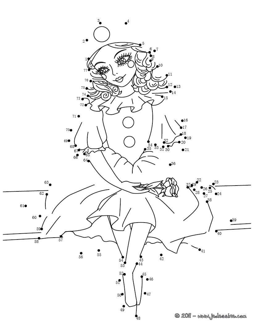 Coloriage A Imprimer Princesse Qui Vole.Jeu Du Dessin Par Points Colorier Colombine En Points