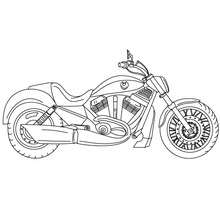 Moto cruiser  colorier - Coloriage - Coloriage VEHICULES - Coloriage MOTOS - Coloriage MOTOS CRUISER