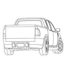 Arrière de Pick up à colorier - Coloriage - Coloriage VEHICULES - Coloriage CAMION - Coloriage PICK UP