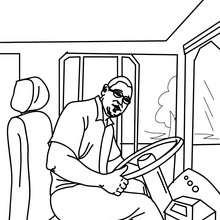 Coloriage : Chauffeur de bus à colorier