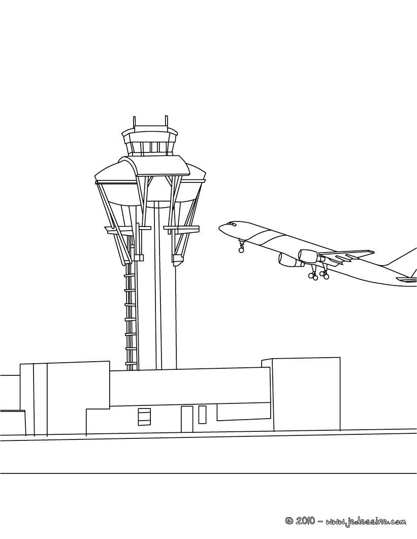 Coloriage avion tour de contrôle