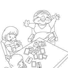 Mamie gagnante à colorier - Coloriage - Coloriage FETES - Coloriage FETE DES GRANDS MERES