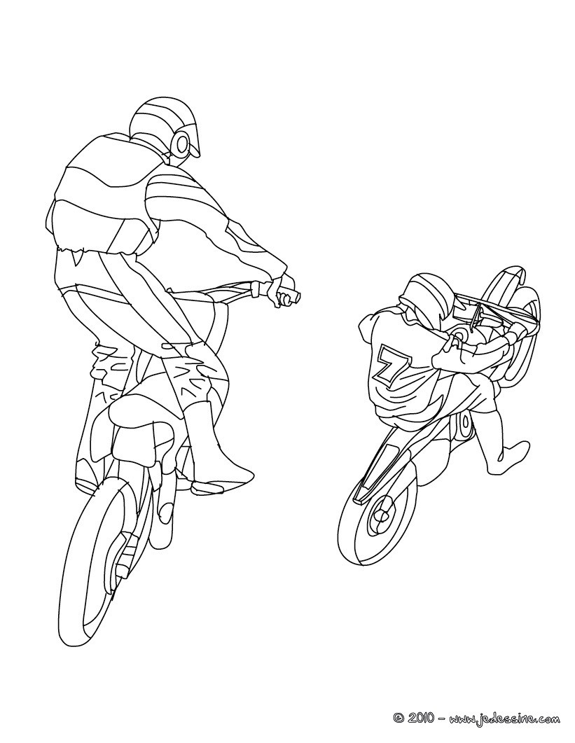 Coloriages coloriage 2 motos cross imprimer fr - Dessin de moto cross ...