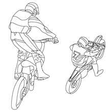 Coloriage 2 motos-cross à imprimer - Coloriage - Coloriage VEHICULES - Coloriage MOTOS - Coloriage MOTO-CROSS