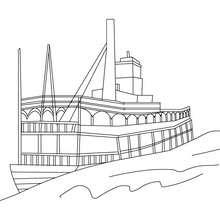 Bateau à vapeur à imprimer - Coloriage - Coloriage VEHICULES - Coloriage BATEAU - Coloriage BATEAU A IMPRIMER