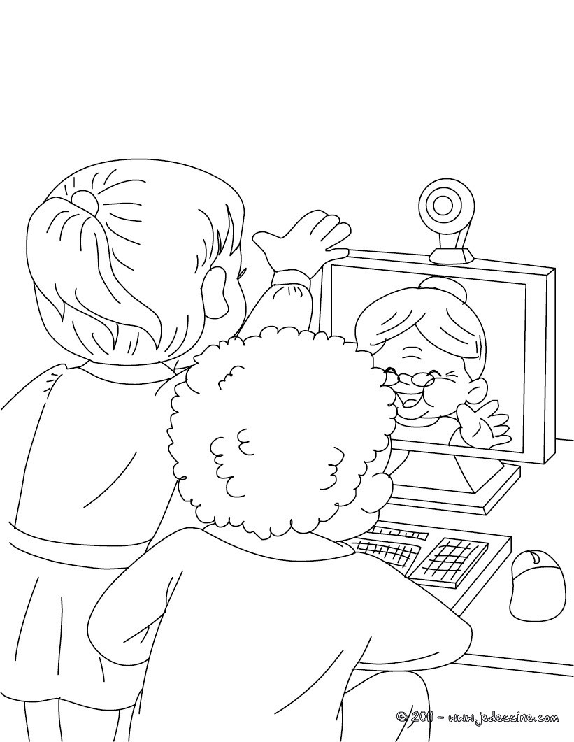Coloriage : Mamie sur le web à colorier