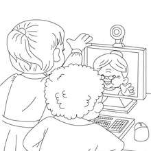Mamie sur le web  colorier - Coloriage - Coloriage FETES - Coloriage FETE DES GRANDS MERES