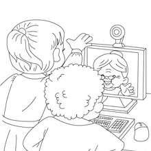 Mamie sur le web à colorier - Coloriage - Coloriage FETES - Coloriage FETE DES GRANDS MERES