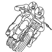 Coloriage 2 motos de course à imprimer - Coloriage - Coloriage VEHICULES - Coloriage MOTOS - Coloriage MOTOS DE COURSE