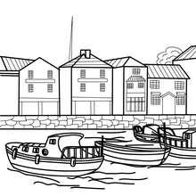 Coloriage bateaux petit port de pêche