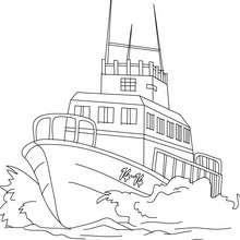 Coloriage bateau de pêche en mer