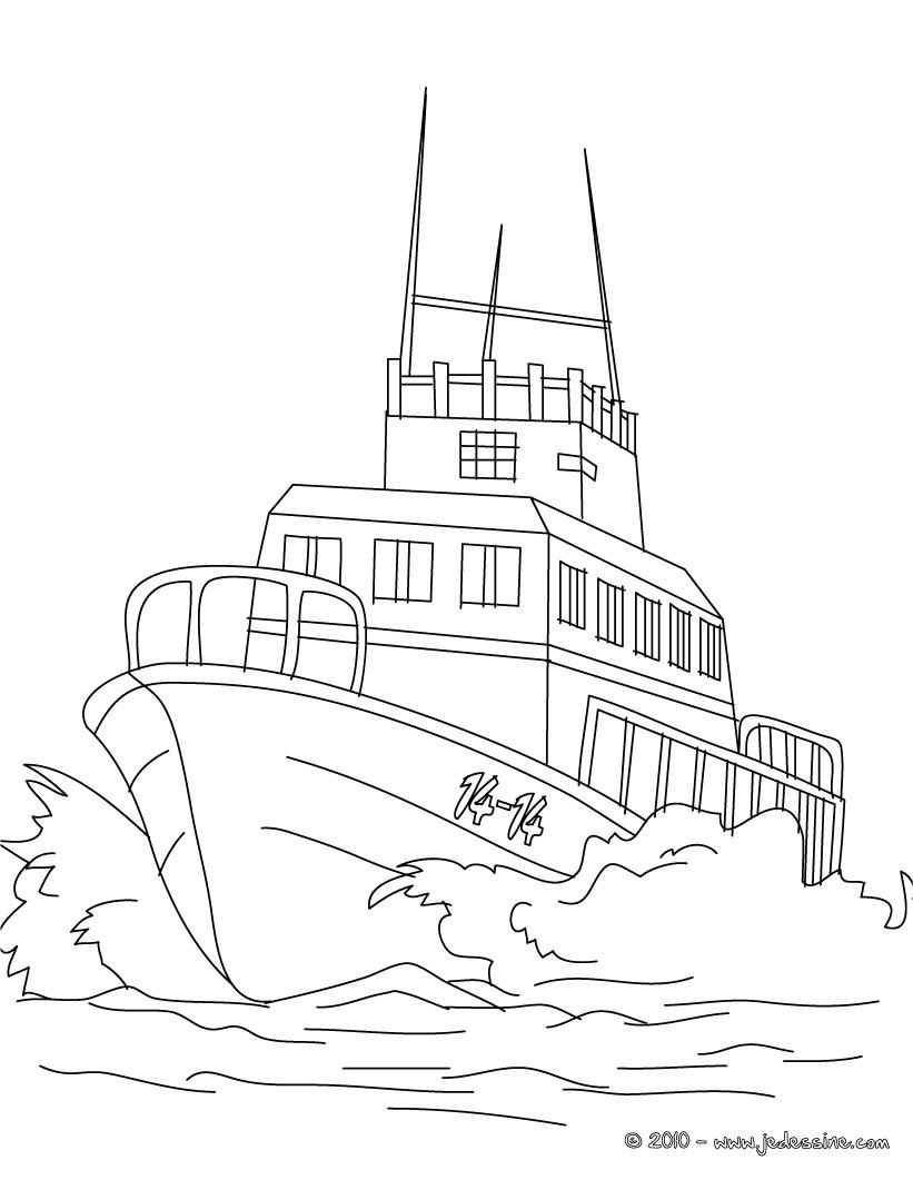 Coloriages coloriage bateau de p che en mer - Coloriage bateau ...