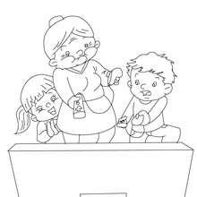 Grand-mère qui joue à la Wii - Coloriage - Coloriage FETES - Coloriage FETE DES GRANDS MERES