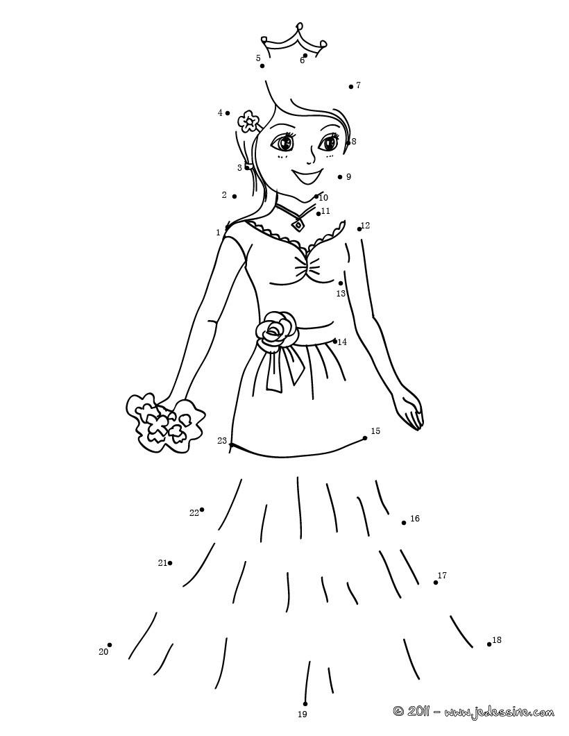 jeu de points relier costume princesse points relier imprimer