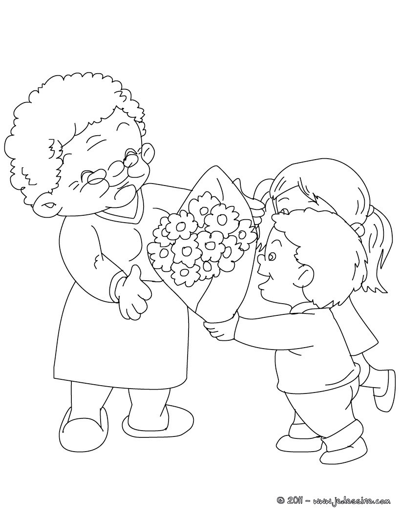 Coloriages grand m re au bouquet de fleurs colorier fr - Coloriage fete des grand mere ...