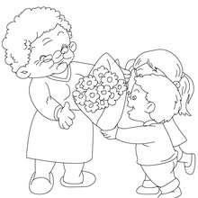 Coloriage : Grand-mère au bouquet de fleurs à colorier