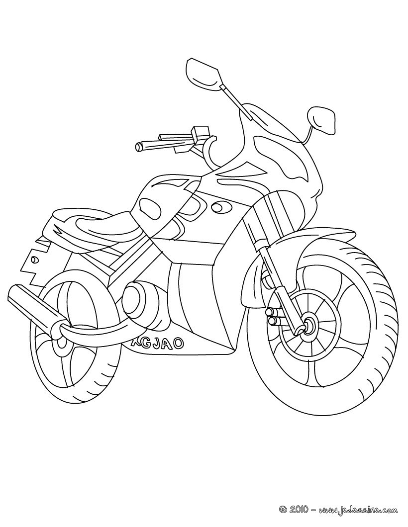 Coloriages coloriage moto routi re imprimer - Dessin a colorier playmobil moto ...