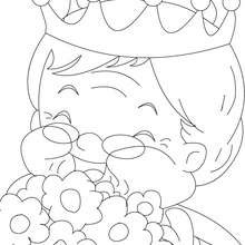 Coloriage : Grand-mère avec bouquet de fleurs à colorier