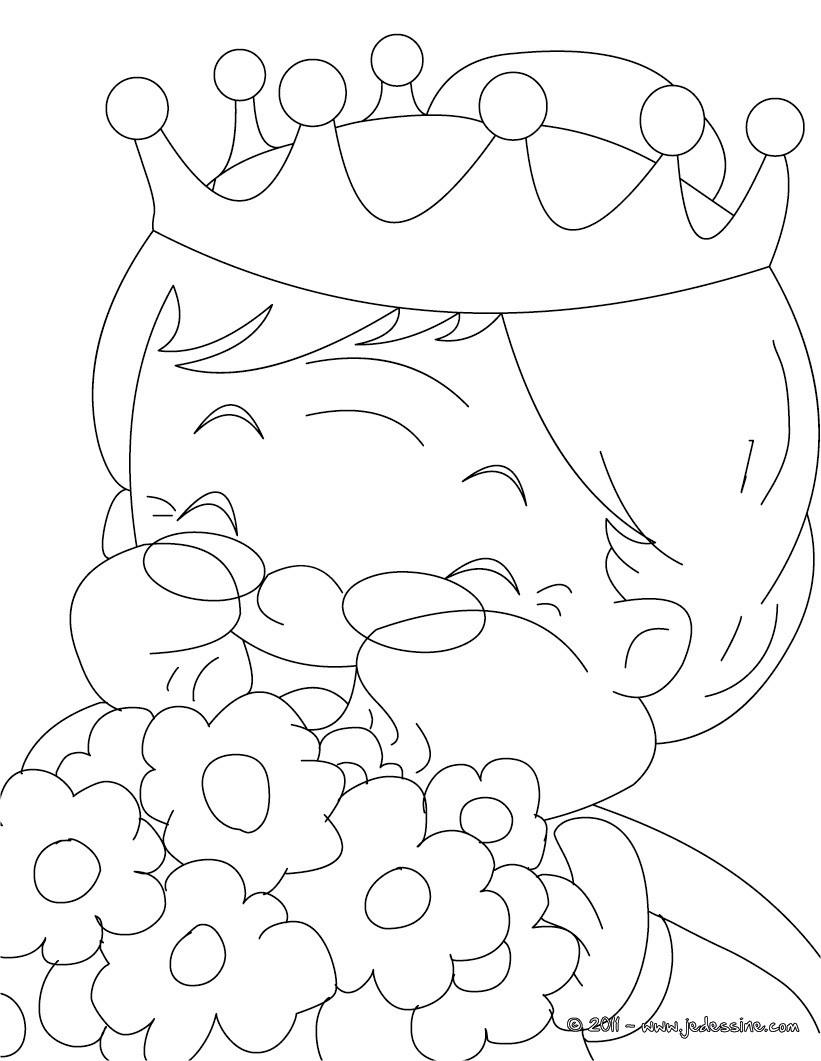 Coloriage Grand m¨re avec bouquet de fleurs  colorier