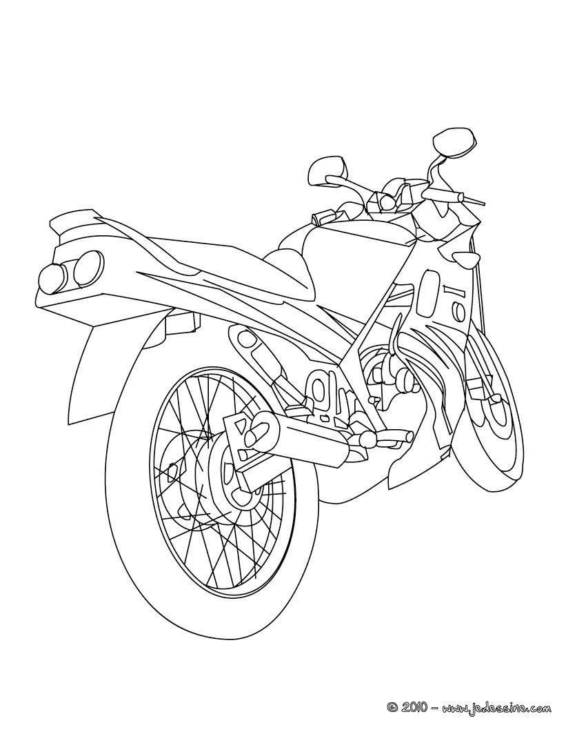 coloriage arrire moto routire gratuit