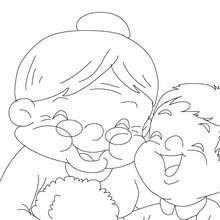 Grand-mre et ses petits enfants  colorier - Coloriage - Coloriage FETES - Coloriage FETE DES GRANDS MERES