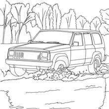 Pick up dans l'eau à colorier - Coloriage - Coloriage VEHICULES - Coloriage CAMION - Coloriage PICK UP