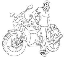 Fille à la moto à colorier - Coloriage - Coloriage VEHICULES - Coloriage MOTOS - Coloriage MOTOS ROUTIERES