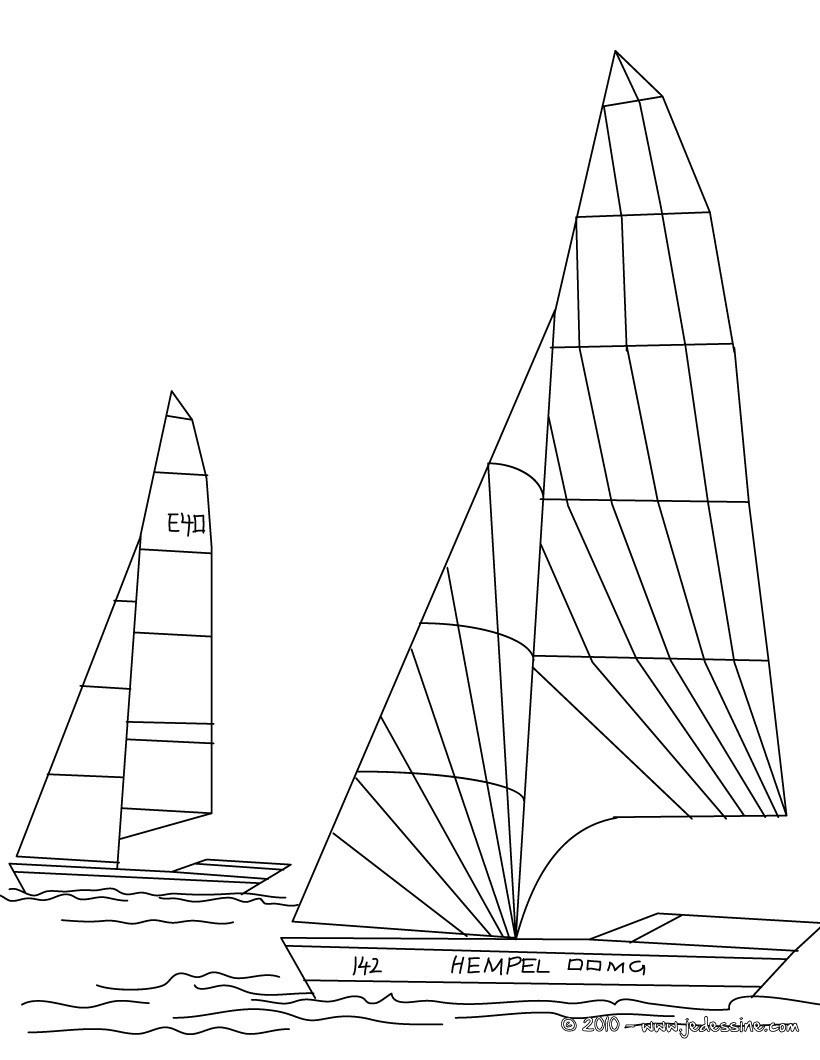Coloriages coloriage de 2 voiliers en mer - Dessins de voiliers ...