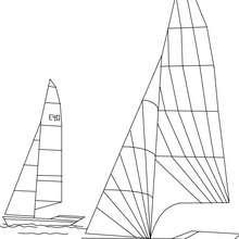 Coloriage de 2 voiliers en mer - Coloriage - Coloriage VEHICULES - Coloriage BATEAU - Coloriage BATEAU A VOILE