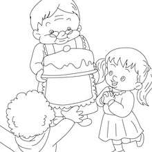 Grand-mre au gteau  colorier - Coloriage - Coloriage FETES - Coloriage FETE DES GRANDS MERES
