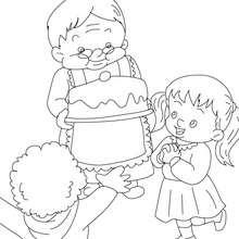 Grand-mère au gâteau à colorier