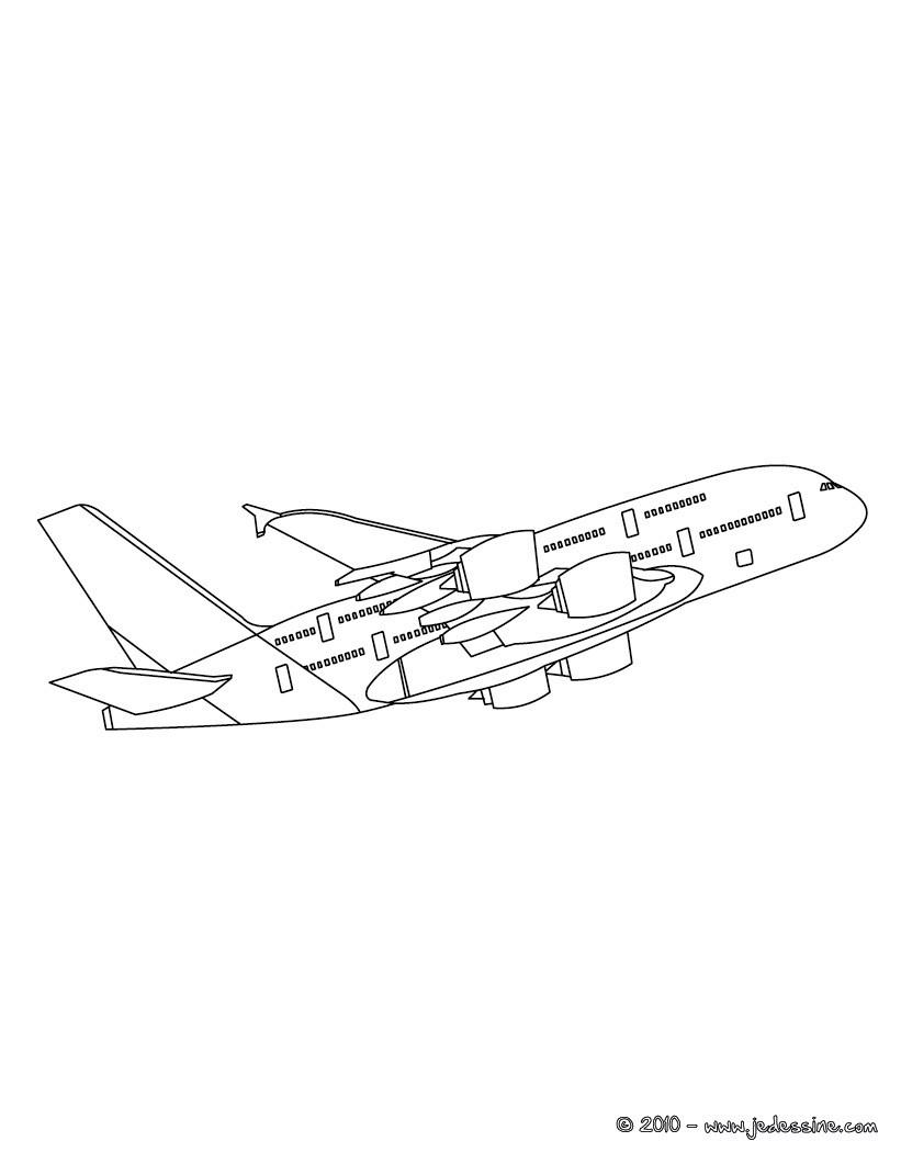 Coloriage : Avion long courrier en vol à colorier