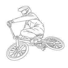 Biker sur Vélo bicross à colorier - Coloriage - Coloriage VEHICULES - Coloriage VELOS - Coloriage VELOS BICROSS