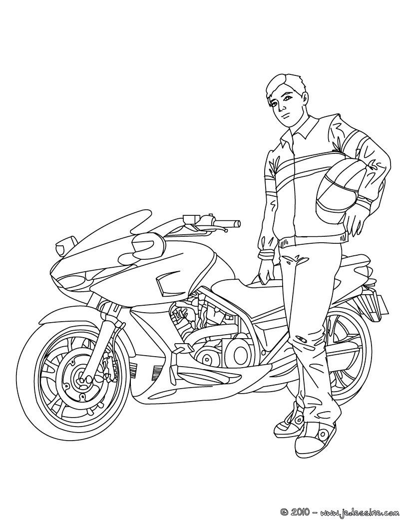 Coloriages motard devant sa moto colorier - Dessin de motard ...