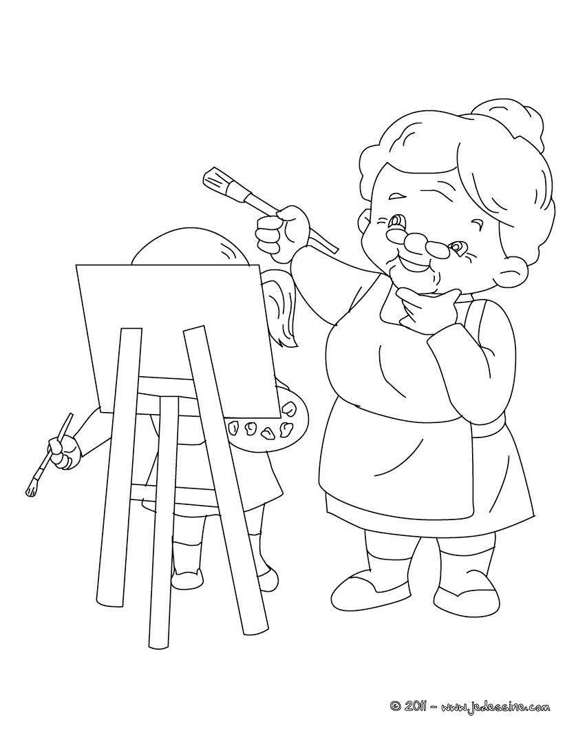 Coloriages grand m re peintre colorier - Grand dessin a colorier ...