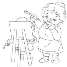 Grand-mère peintre à colorier - Coloriage - Coloriage FETES - Coloriage FETE DES GRANDS MERES