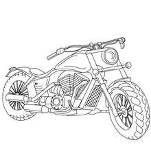 Coloriage : Moto cruiser de face à colorier