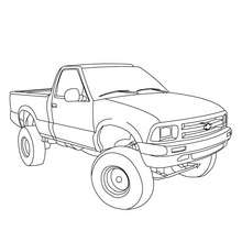 Pick up remorque à colorier - Coloriage - Coloriage VEHICULES - Coloriage CAMION - Coloriage PICK UP