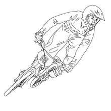 Biker qui saute en Vélo bicross à colorier - Coloriage - Coloriage VEHICULES - Coloriage VELOS - Coloriage VELOS BICROSS