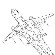Coloriage : Décoller avion long courrier à colorier