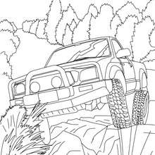 Coloriage : Pick up tout terrain de face à colorier