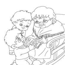 Coloriage de Mamie qui raconte une histoire - Coloriage - Coloriage FETES - Coloriage FETE DES GRANDS MERES