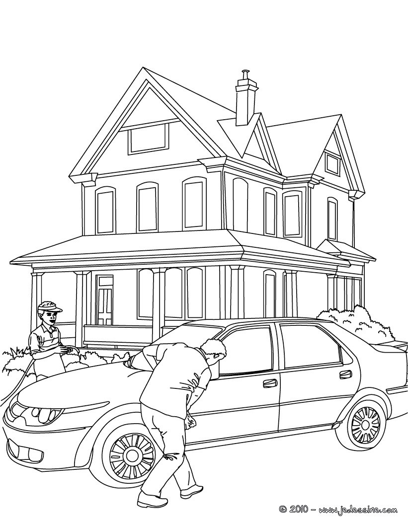 Colouring Pages Of Car Crash : Coloriages voiture garée à colorier fr hellokids