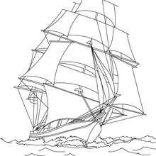 Coloriage navire en haute mer à imprimer - Coloriage - Coloriage VEHICULES - Coloriage BATEAU - Coloriage NAVIRES