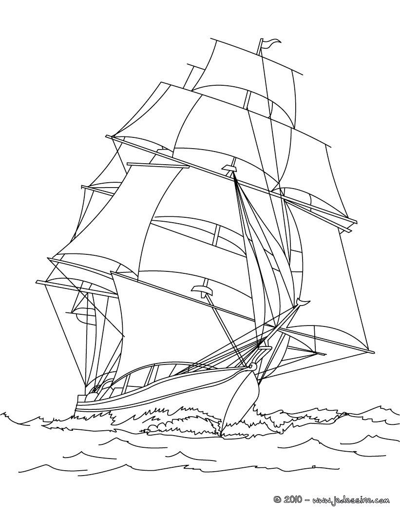 Coloriages coloriage navire en haute mer imprimer - Coloriage petit bateau imprimer ...