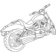 Arrière Moto cruiser à colorier - Coloriage - Coloriage VEHICULES - Coloriage MOTOS - Coloriage MOTOS CRUISER