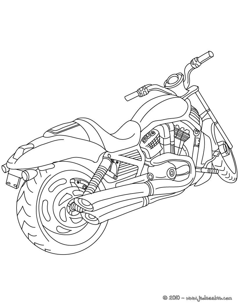Coloriage : Arrière Moto cruiser à colorier